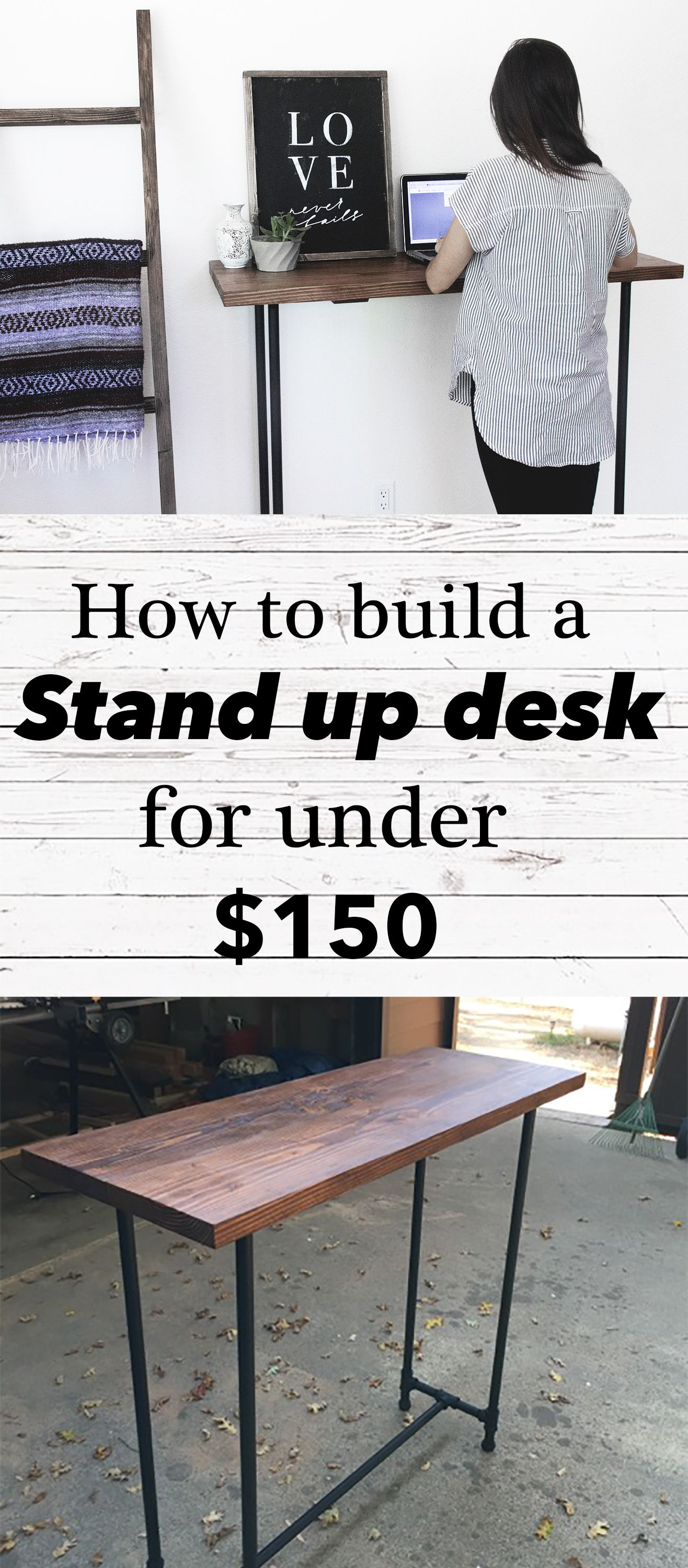 EASY DIY PIPE STAND UP DESK COST