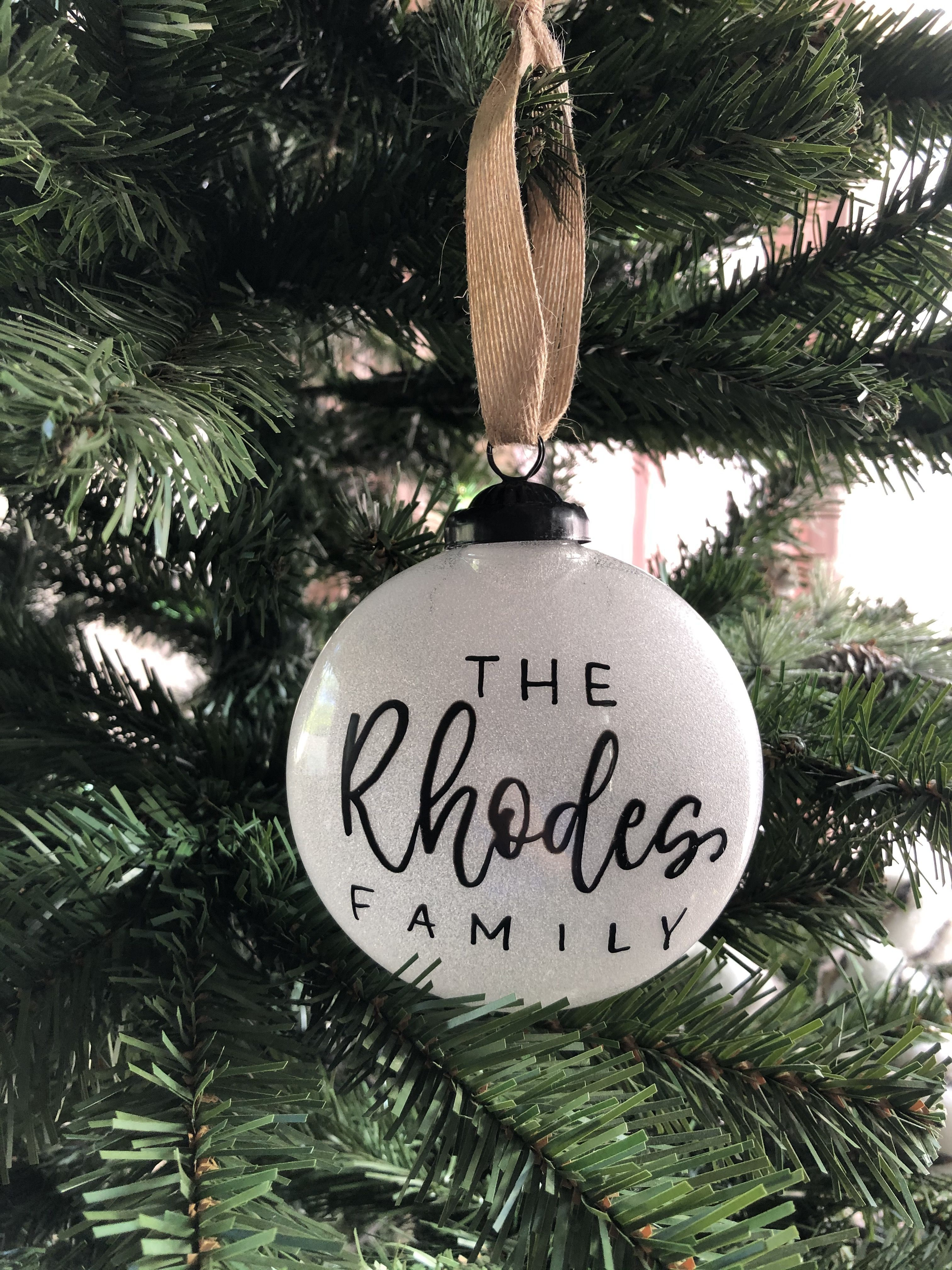 Personalized Family Name Ornaments Family Christmas Ornaments Our First Christmas Ornament Custom Ornament