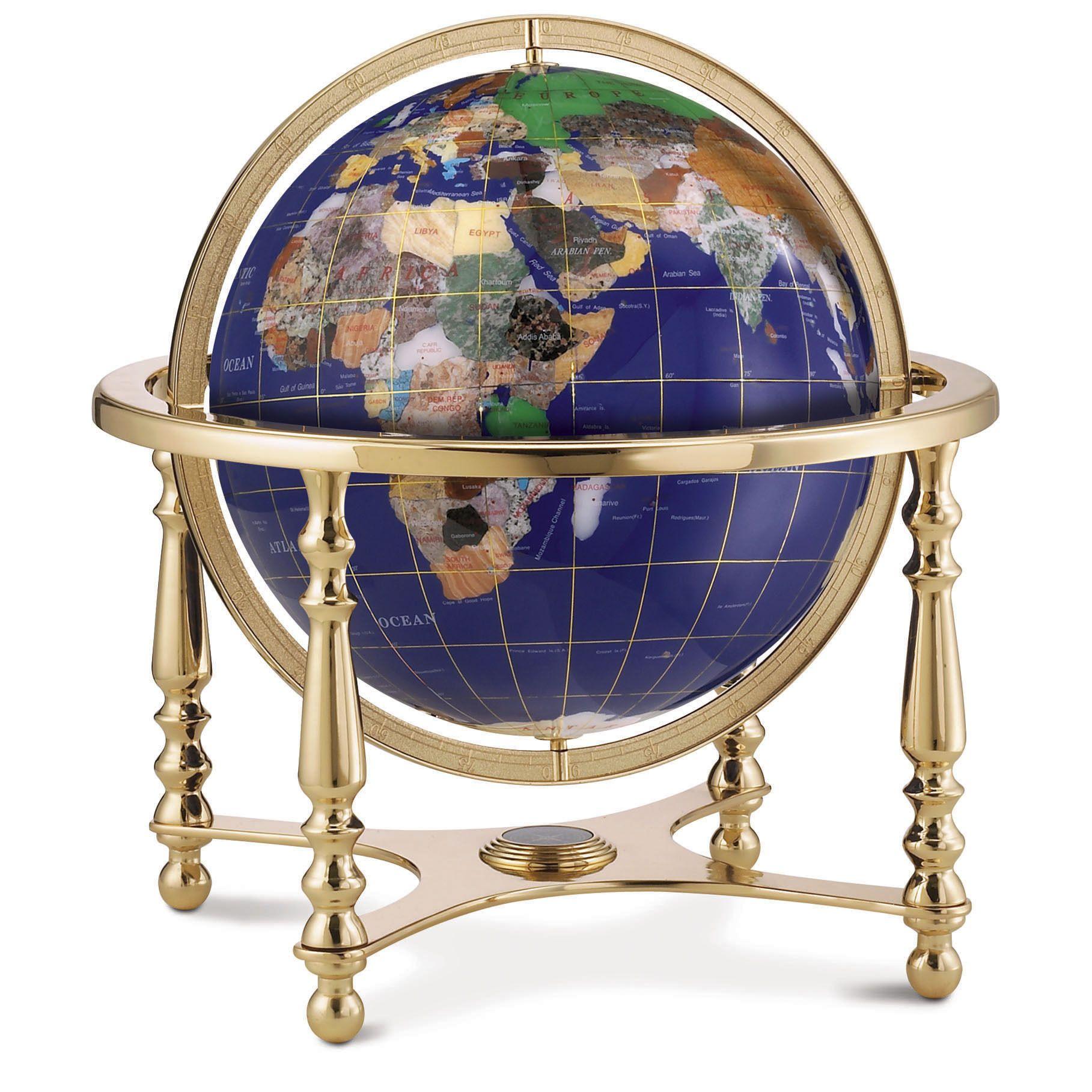 The exquisite desktop gemstone globe has a blue lapis ocean and is replogle compass jewel desktop world globe 13 inch diameter with semi precious gemstones blue lapis ocean ball gumiabroncs Images