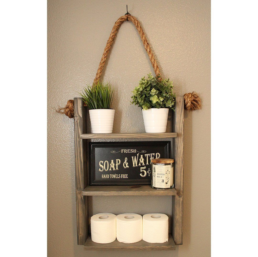 Rustic Wood Medicine Cabinet Rustic Wood Rope Ladder Shelf Bathroom Storage Cabin Home