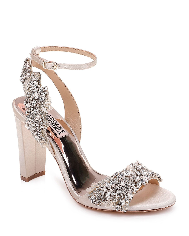 5cee45b6f522 Badgley Mischka Libby Embellished Ankle-Wrap Sandals
