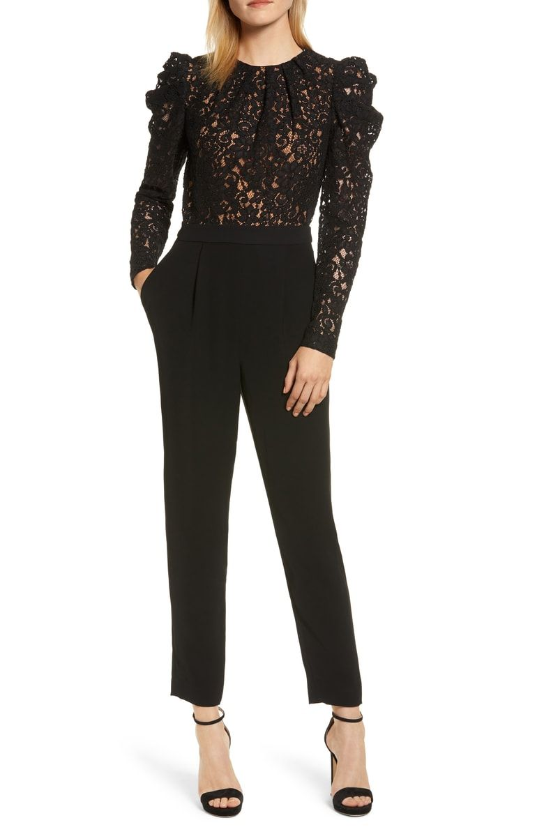 448244f303b5 Free shipping and returns on MICHAEL Michael Kors Black Lace Jumpsuit at  Nordstrom.com.