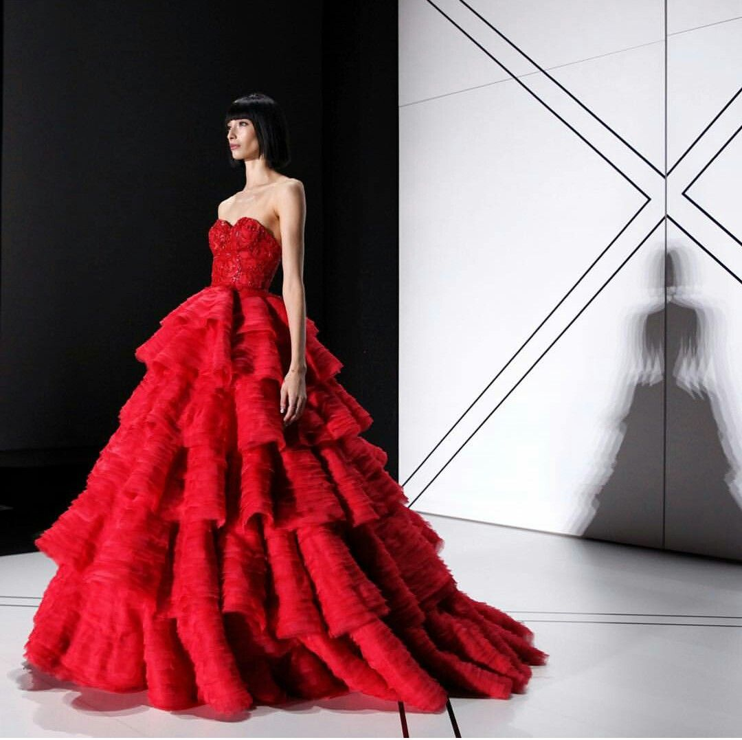 @ralphandrusso Striking Red Spring/summer couture collection