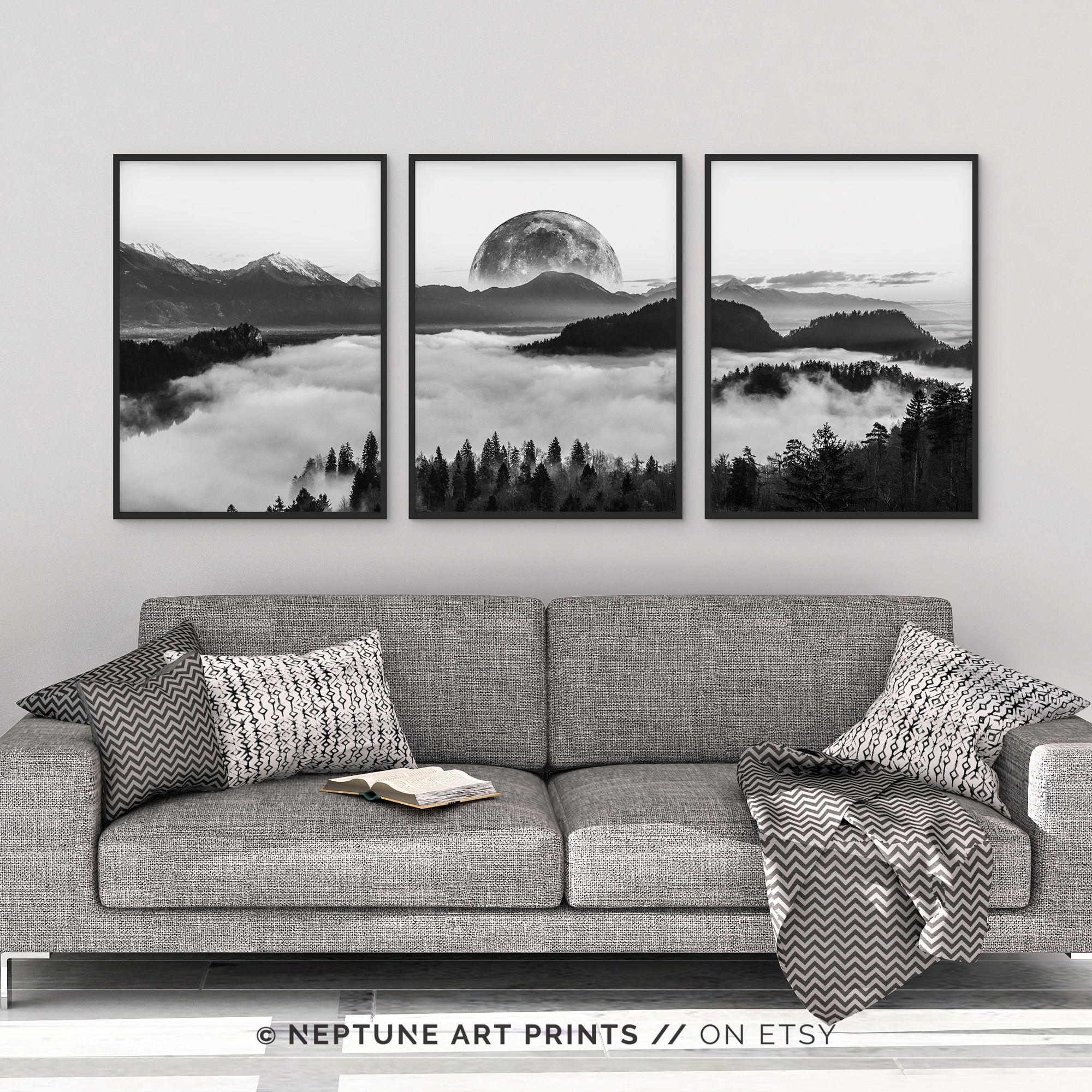 Black And White Photography Wall Art Poster Print Set Of 3 Piece