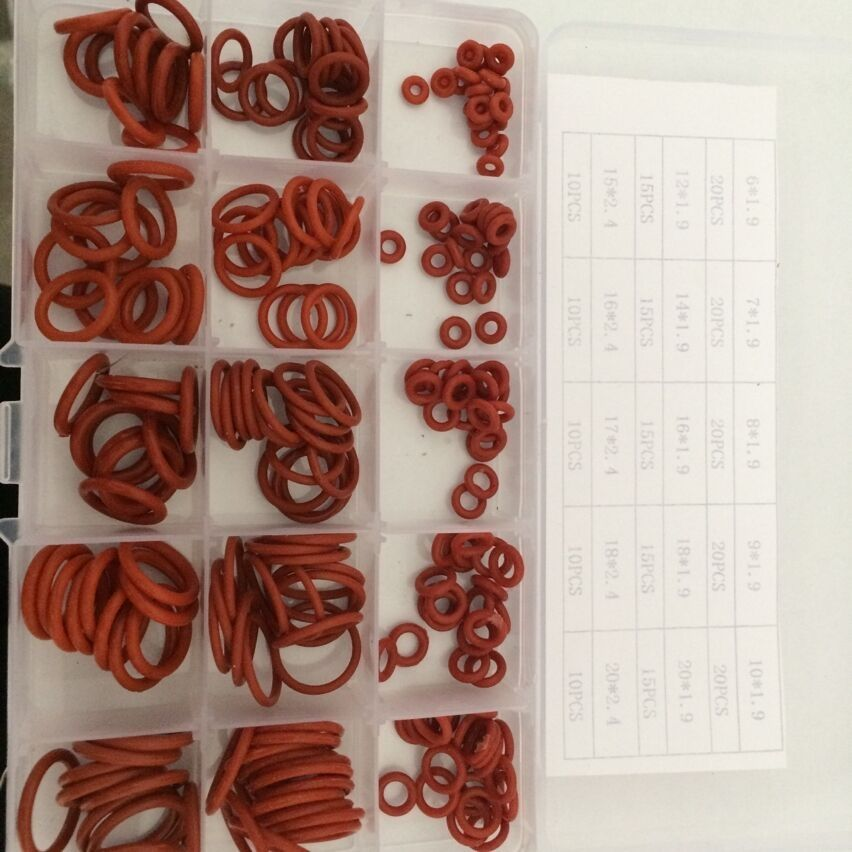 New 225 Piece 6mm to 20mm Silicone Rubber washers O-Ring Kit O seal ...