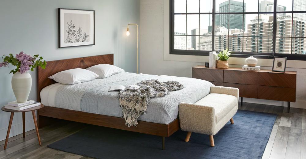 Nera Walnut 6 Drawer Low Double Dresser King Size Wood Bed Frame Contemporary Bed Frame Wooden Platform Bed