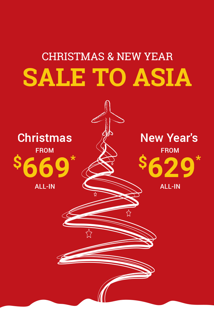 Discounted flight deals to Asia this Christmas and New