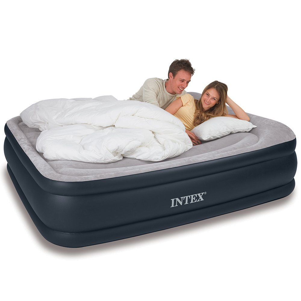 Intex Deluxe Pillow Rest Raised Airbed with Soft Flocked Top for Comfort,
