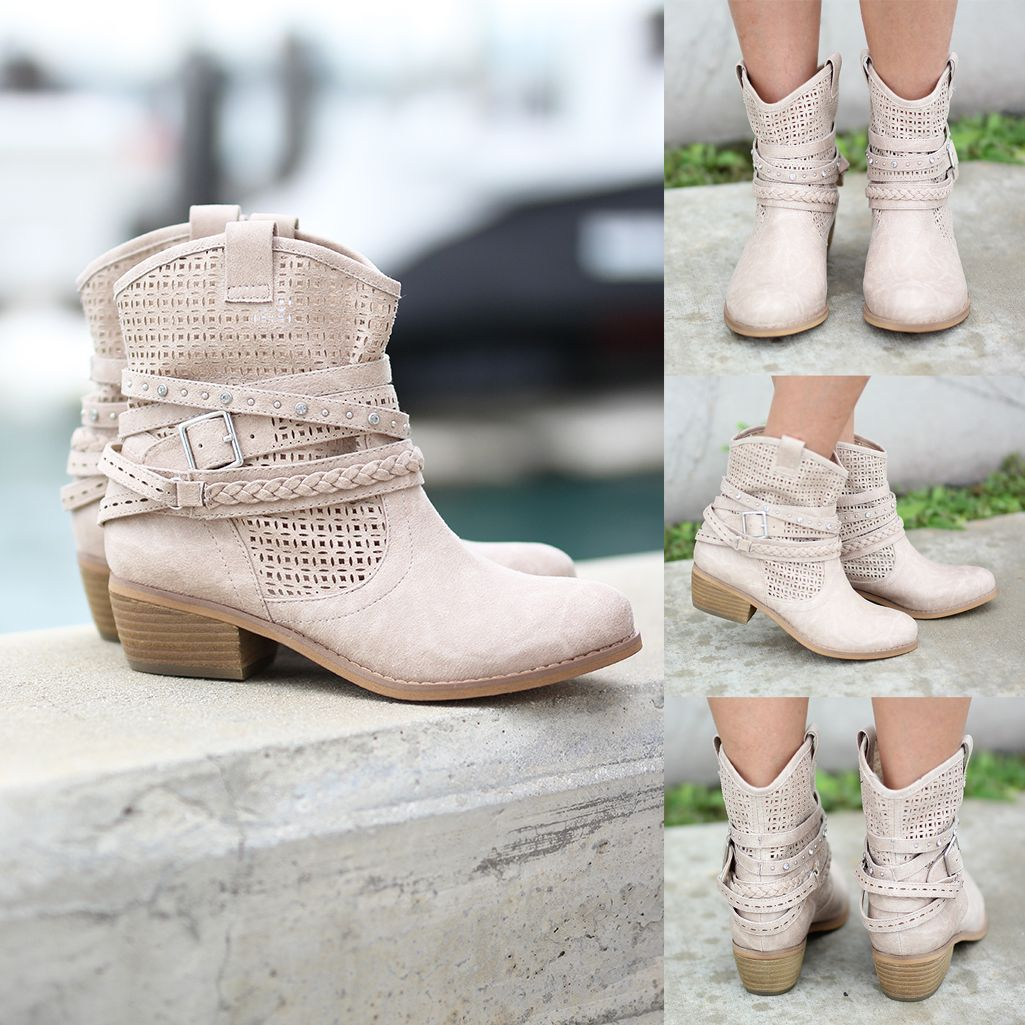 We are head over heels for these amazing new booties. Beige Van De Vort Bootiess can easily be dressed up or dressed down! Wear them with our super distressed skinny jeans, leggings or a cute short dress! The details are just awesome!! From the adorable pattern in the suede to the studded buckles this boot is just to CUTE! Take a peek at some other amazing shoes at our online boutique!