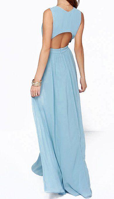 SMSS Women's Fashion Deep V-Neck Sexy High Waist Chiffon Maxi Long Dress at Amazon Women's Clothing store: