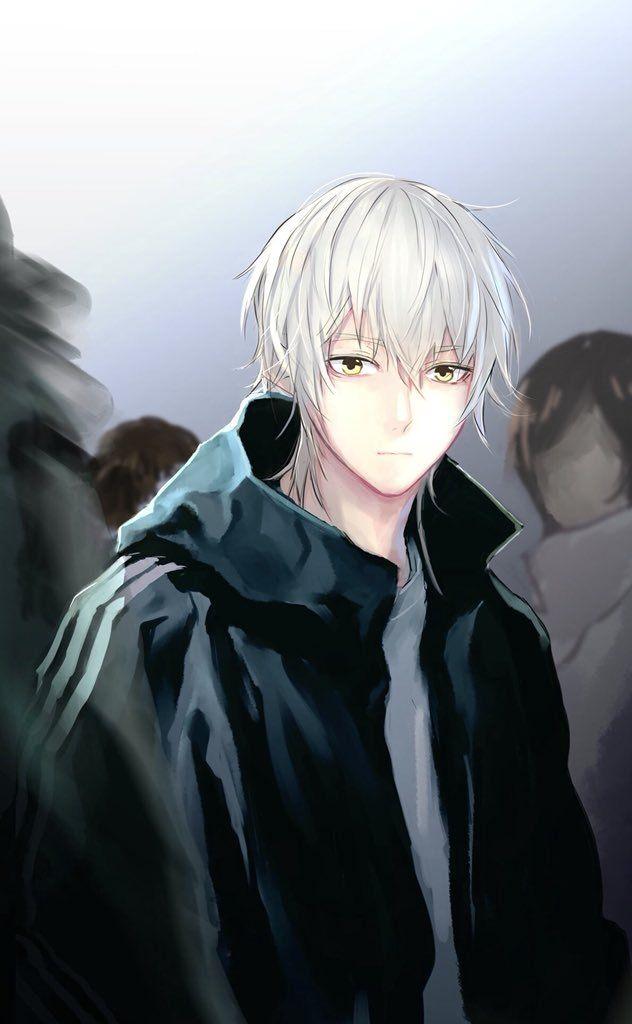 Anime Guy White Hair Golden Yellow Eyes Sporty Anime Guys
