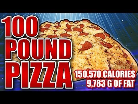 100-Pound Pizza - Epic Meal Time - http://www.bestrecipetube.com/100-pound-pizza-epic-meal-time/