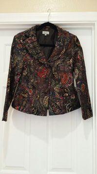 cc842448d433e2 Analogy Brocade Pleated Black Multi Floral Jacket Floral Jacket, Petite,  Plus Size, Blazer