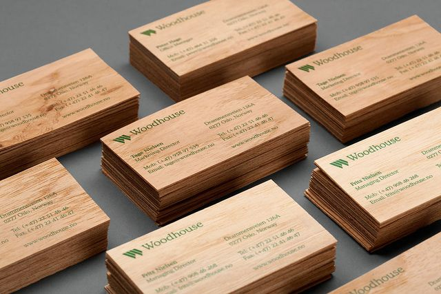 Heydays woodhouse business cards business cards wood business woodern woodhouse business card designed by heydays with green ink print finish reheart Image collections