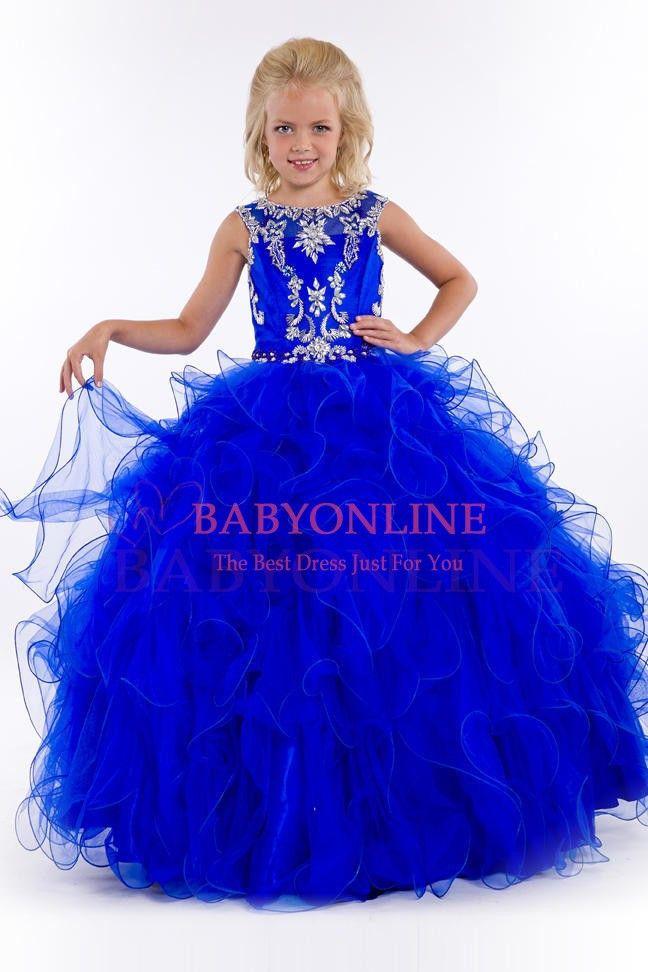 2015 New Royal Blue/Pink Lovely Little Girls Pageant Dresses Beading Sleeveless Ball Gown Flower Girl Dresses vestido florista