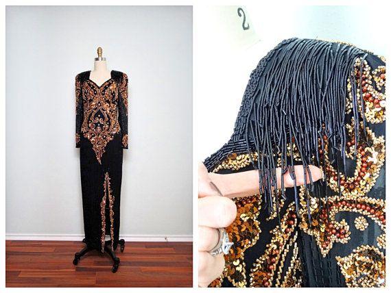Reserved VTG Fringe Beaded Gown by Black Tie Oleg by braxae