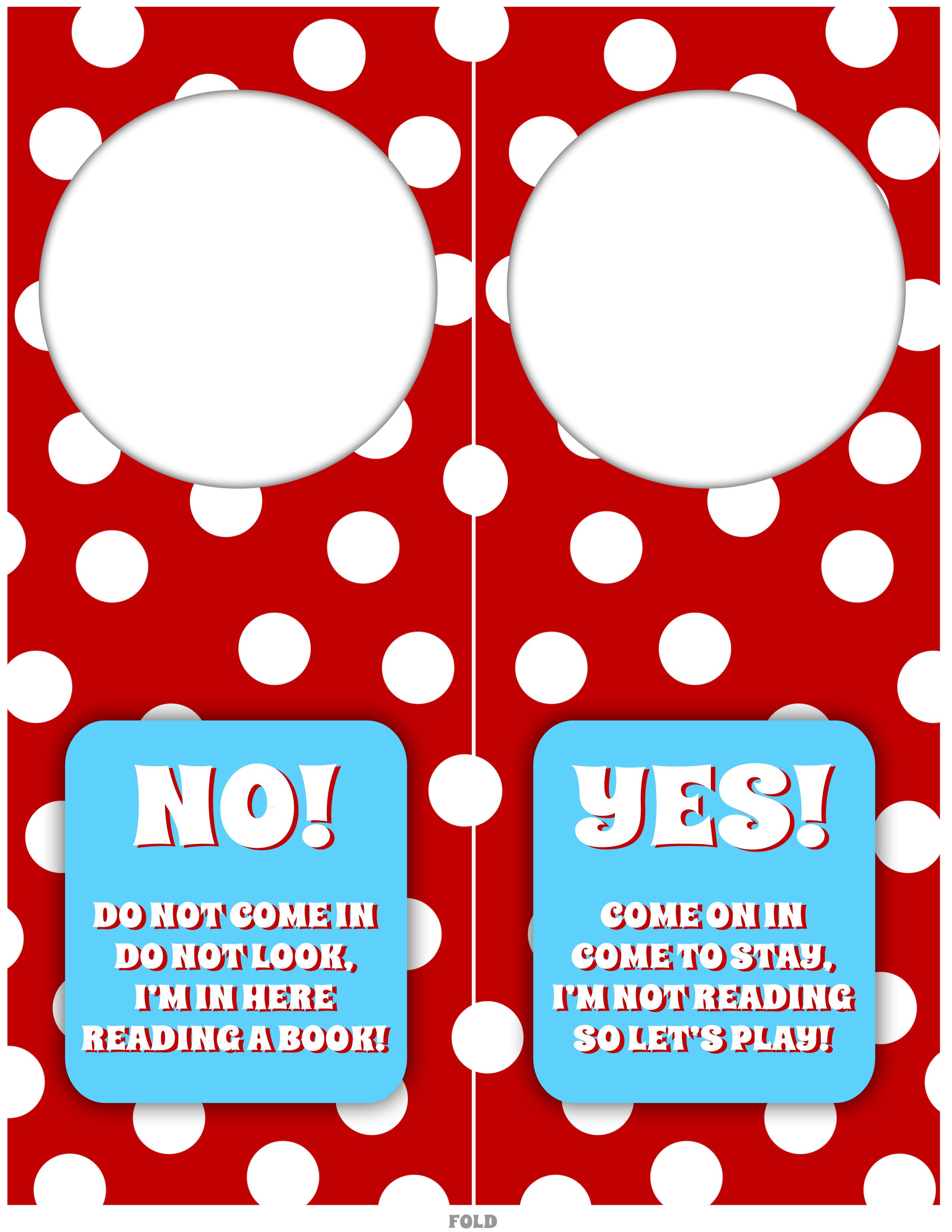 Girl Door Hangers  Dr Seuss Printables Darling Doodles  Paper