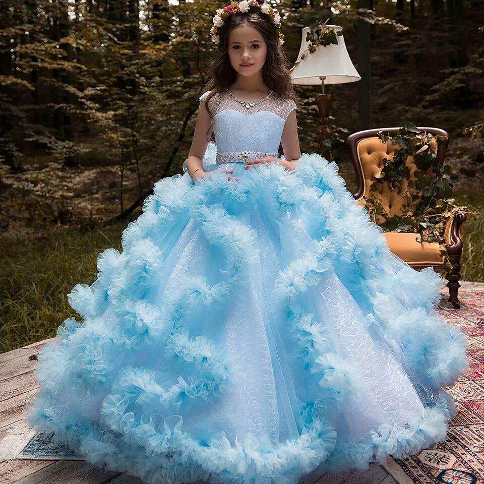 New Puffy Girls Dresses Customized Flower Girls Dresses for