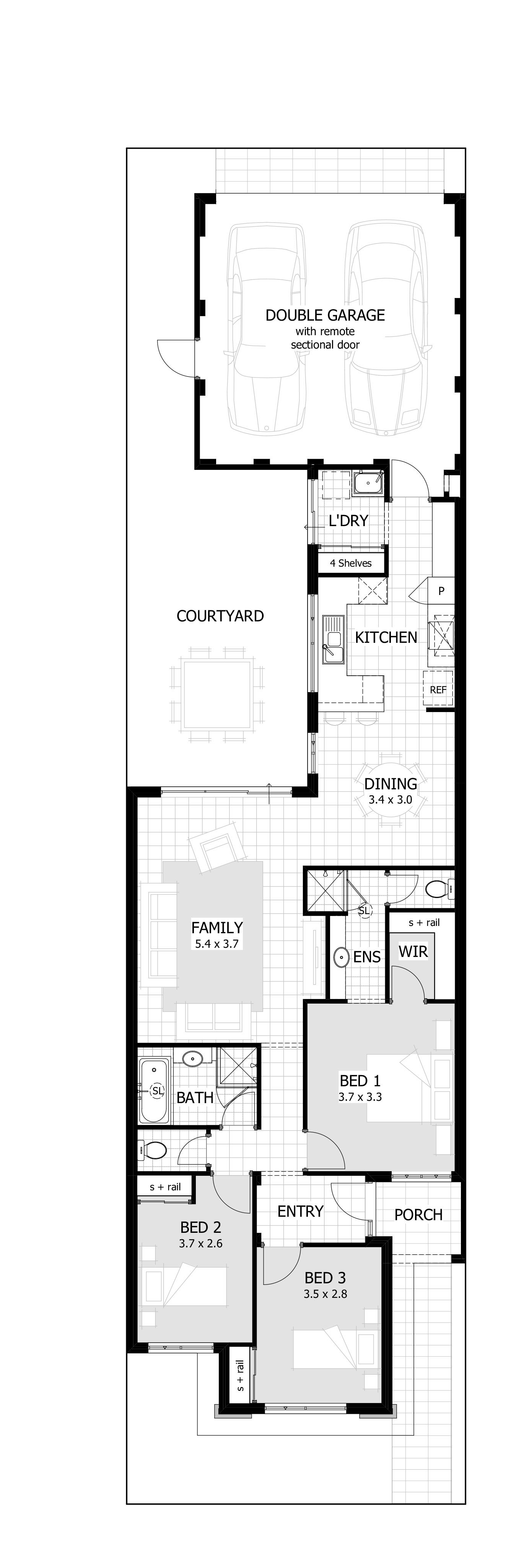 Ava Floor Plan 7 5m Design Perfect For The Land Size This Has Everything I Want Narrow House Designs Narrow House Plans Narrow Lot House Plans