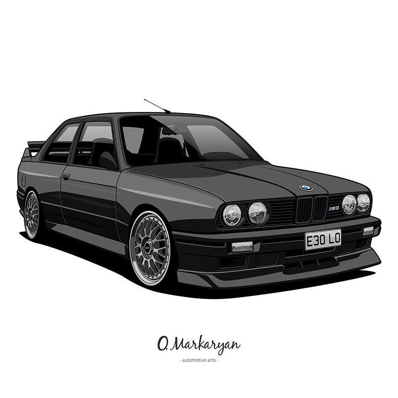 Bmw E30 M3: BMW M3 E30 Vector Illustration