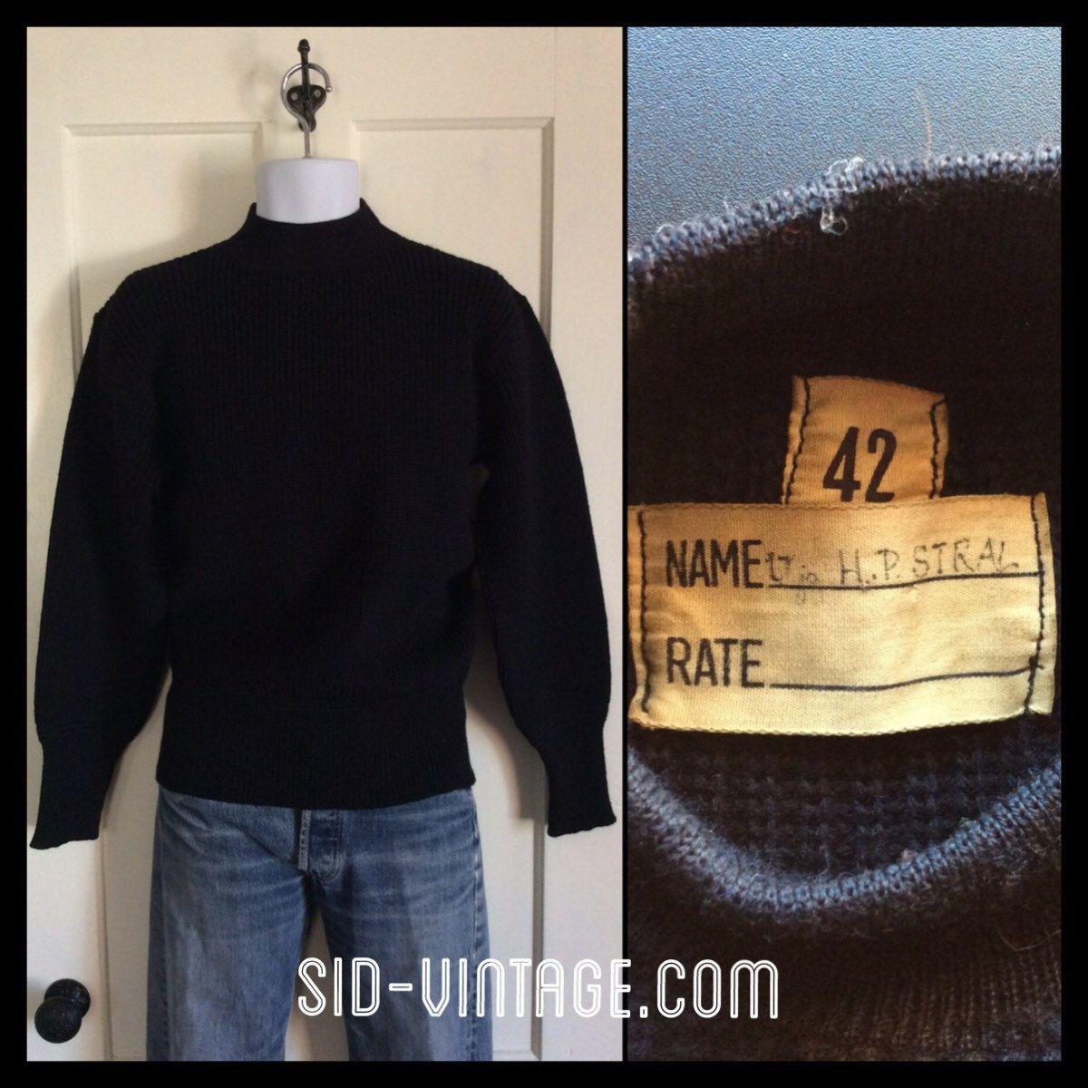 Size 2 Vintage Swedish V Neck Military Navy Sweater #3 M