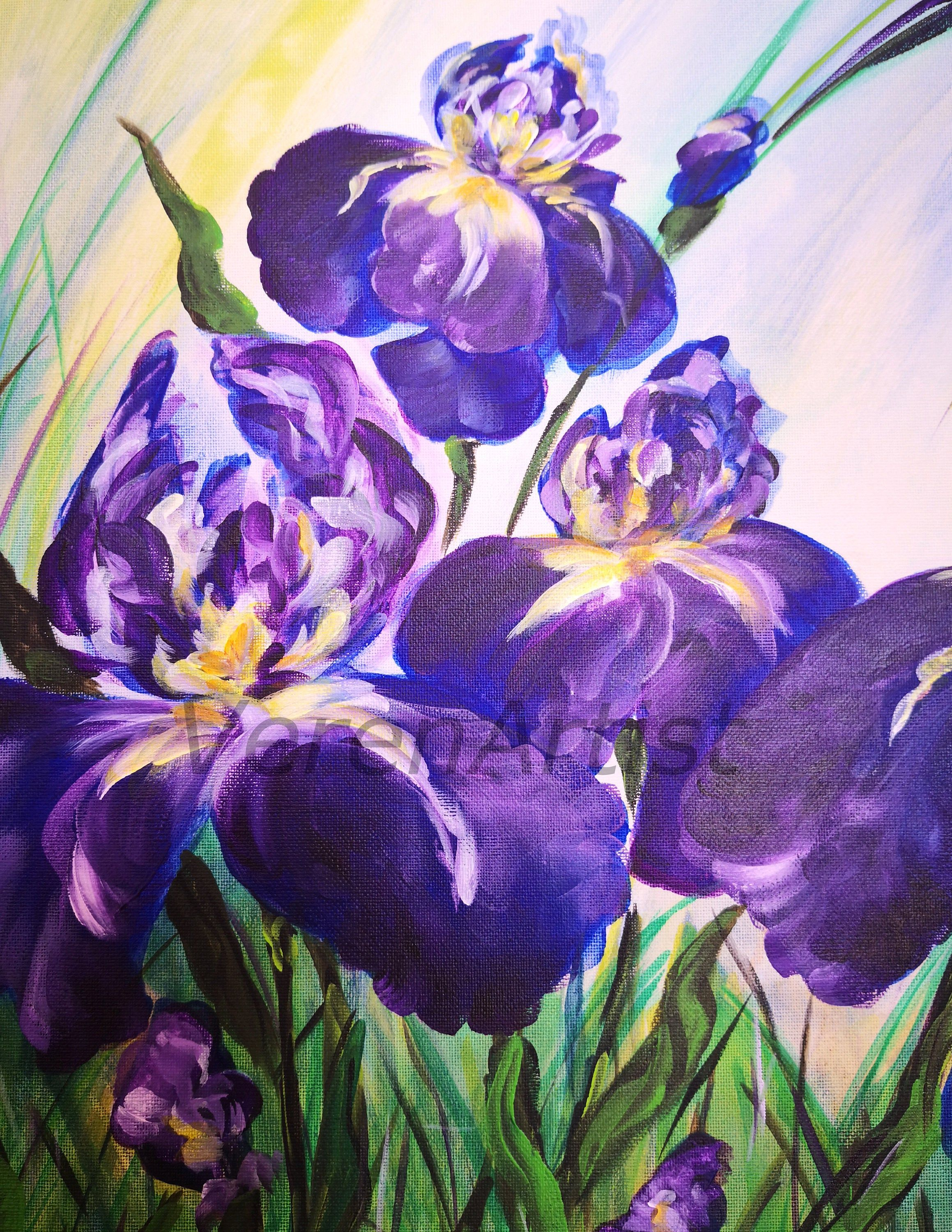 Painting On Canvas Irises Blue Purple Flowers Wildflowers Acrylic Floral Bouquet Nature Abstract Original Painting Acrylbilder Home Decor In 2020 Blue And Purple Flowers Iris Painting Purple Flowers