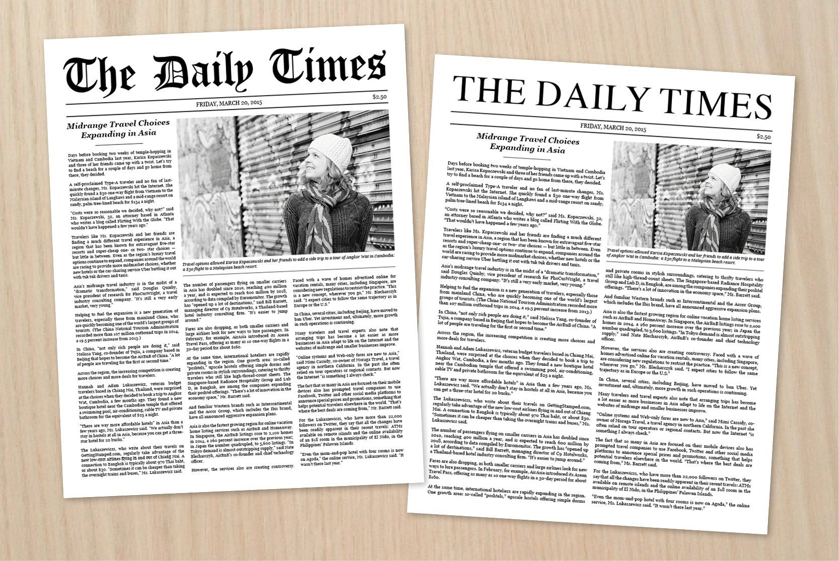 Newspaper Article Template Newspaper Text Article
