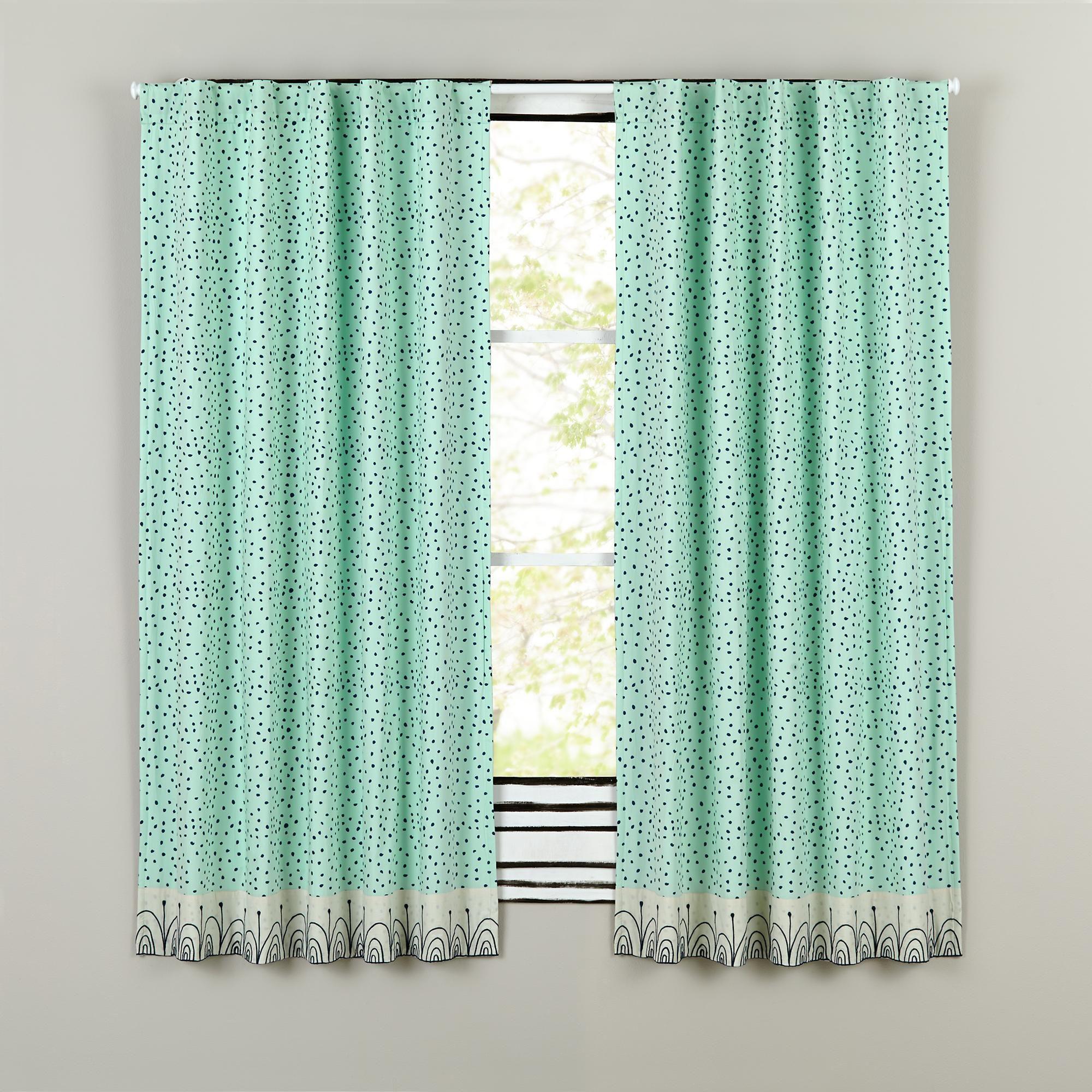 Sleep Tight Aqua And Grey Polka Dot Curtain Panels In