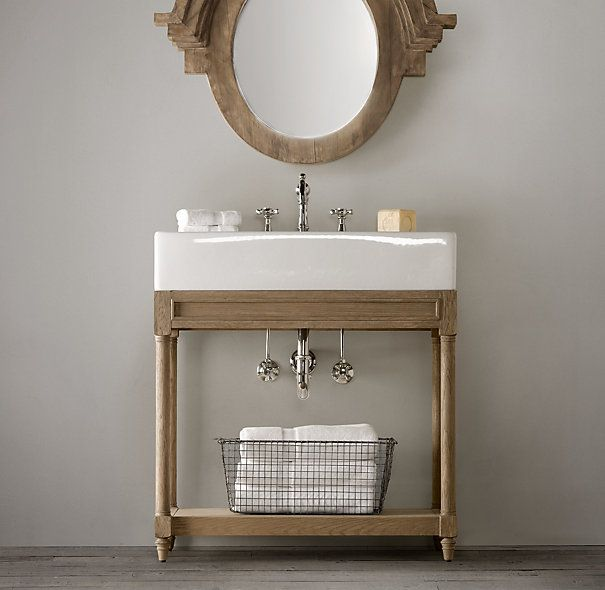 Weathered Oak Single Console Sink Restoration Hardware for powder bath  31 5Wx18 75Dx34H  995Weathered Oak Single Console Sink Restoration Hardware for powder  . Kent Bathroom Vanity Restoration Hardware. Home Design Ideas