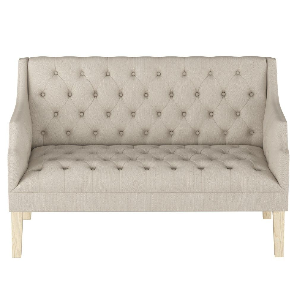 This Comfortable And Stylish Linen Tufted Settee From Threshold Is