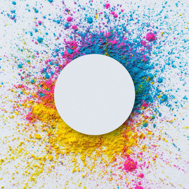 Download Top View Of Holi Color On A White Background With Blank Circle for free