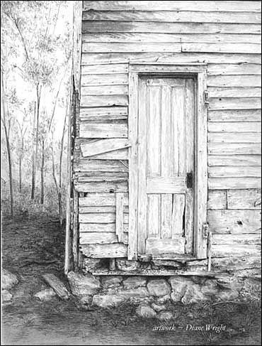 Farmhouses graphite pencil drawings by diane wright