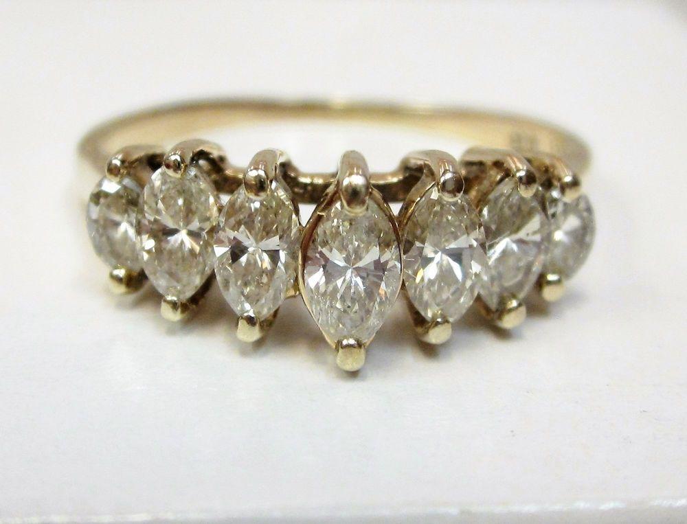 Ct marquise diamond pyramid anniversary ring solid k yellow