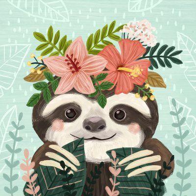 Harriet Bee Compton Cute Sloth Canvas Art #cutesloth