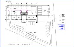 Sanitary installation view of office low floor plan dwg file | block