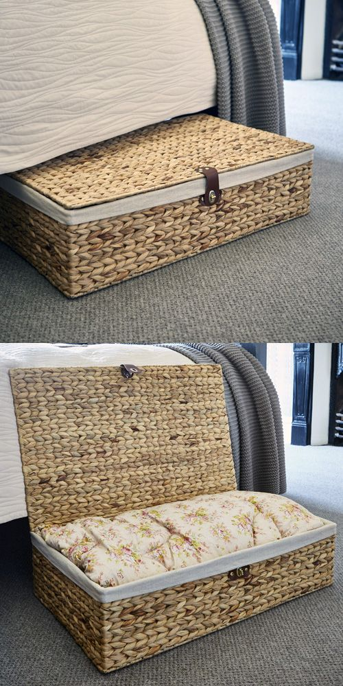 Water Hyacinth Under Bed Storage Basket with Lining and Faux Leather Fasten & Water Hyacinth Under Bed Storage Basket with Lining and Faux Leather ...