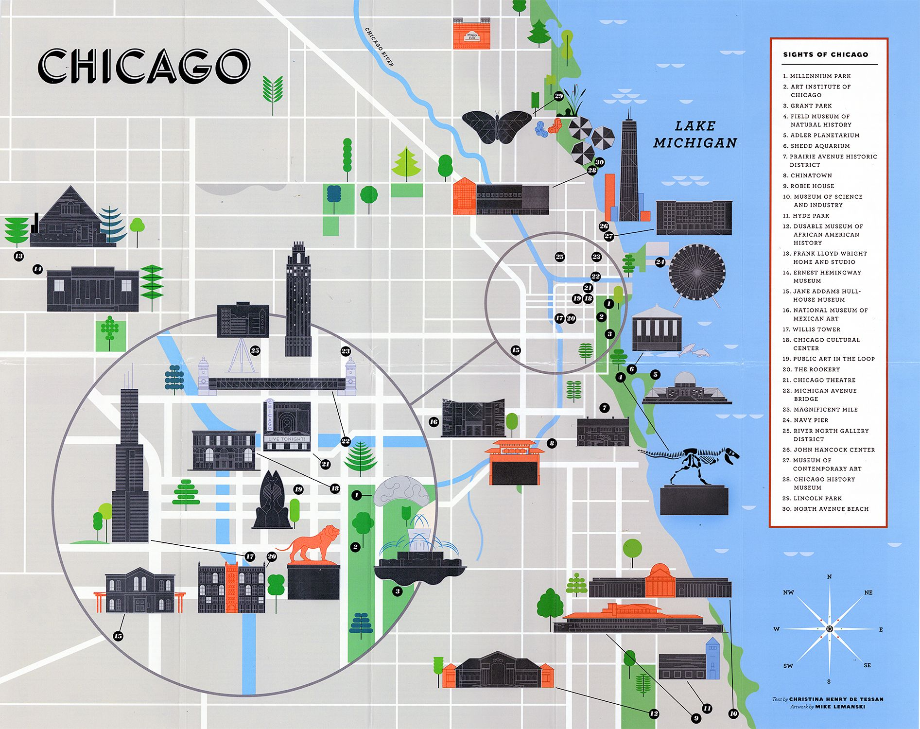 Chicago landmarks map | Maps | Chicago map, Map, Chicago