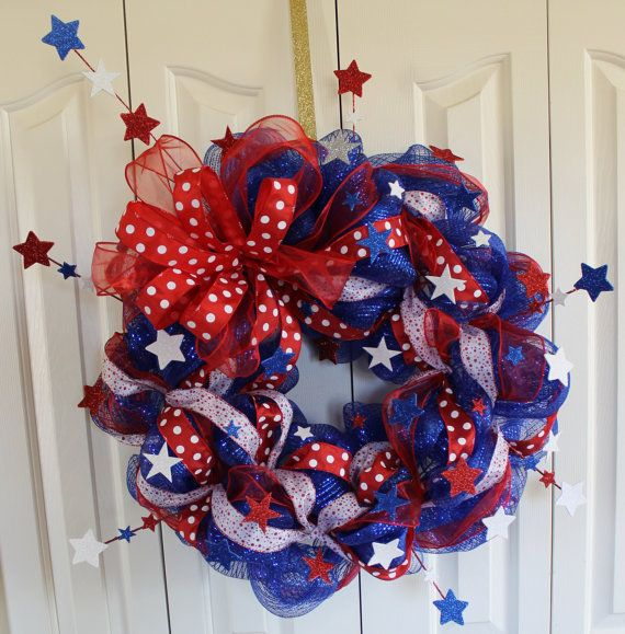 Patriotic 4th Of July Deco Mesh Wreath Memorial Day Red White And Blue Sparkle Wreath Usa