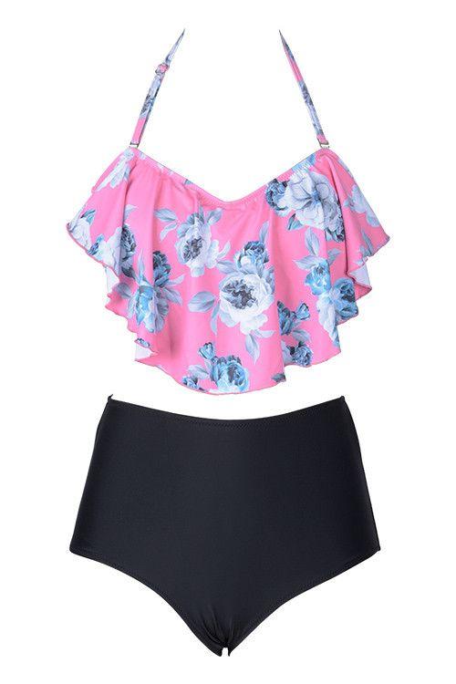 45d08e28e9 #AdoreWe #CupShe Designer bikini - Designer CupShe Way to Sway Floral Falbala  Bikini Set - AdoreWe.com