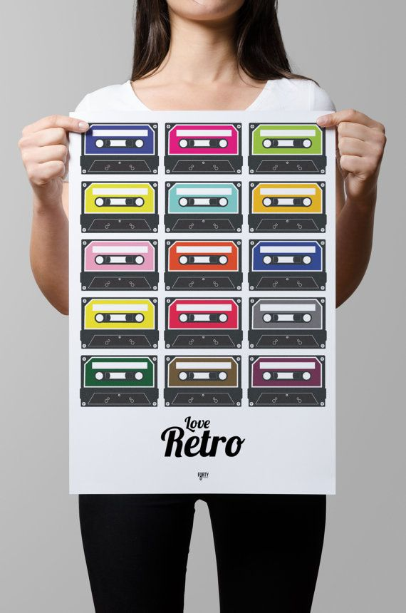 Retro Cassette Digital Print Poster  Frame by Forty8Creates