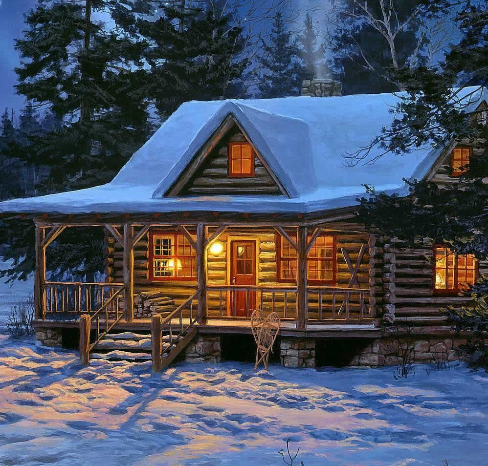 Darrell bush vintage log cabin paintings pinterest for Log cabin painting