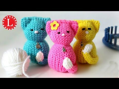 Loom Knitting Toy Tiny Kitty Cat Doll On Small Circle Looms Pattern