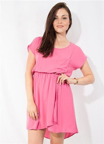 Pink chiffon dress. Pocket over the left side of the chest. Elastic at the waist. Petal style bottom with slit. Pink slip attached inside at the bottom.    One Pack= 3 Small, 2 Medium, 1 Large 100% Polyester Made in USA