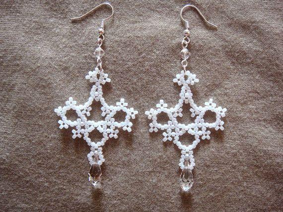Victorian Earrings Wedding Dangle Earrings Seed Bead by lapuzelo