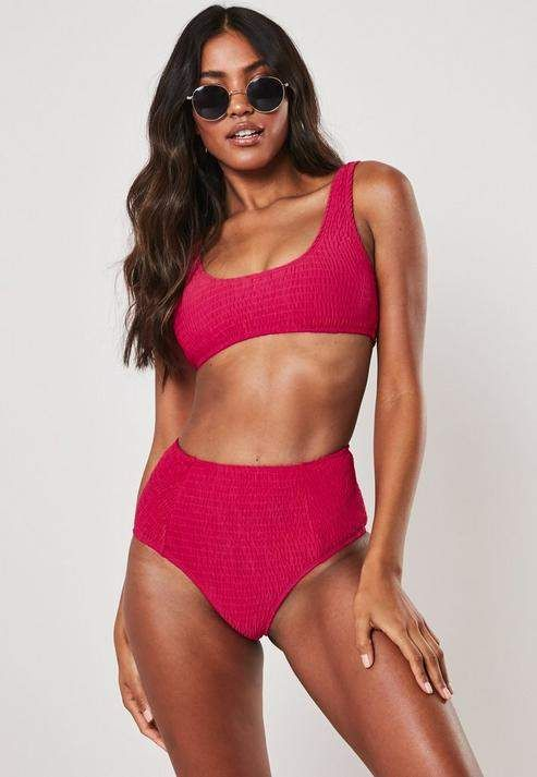 e8f2a5c54 Missguided Pink Mix And Match Crinkle Scoop Neck Bikini Top in 2019 ...