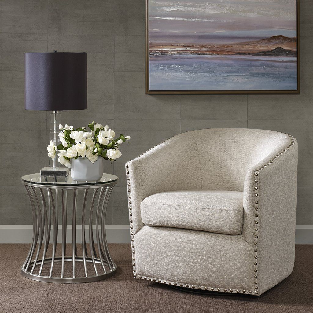 Swivel Accent Chair Natural Multi Living Room Chairs Family Room Sofa Furniture