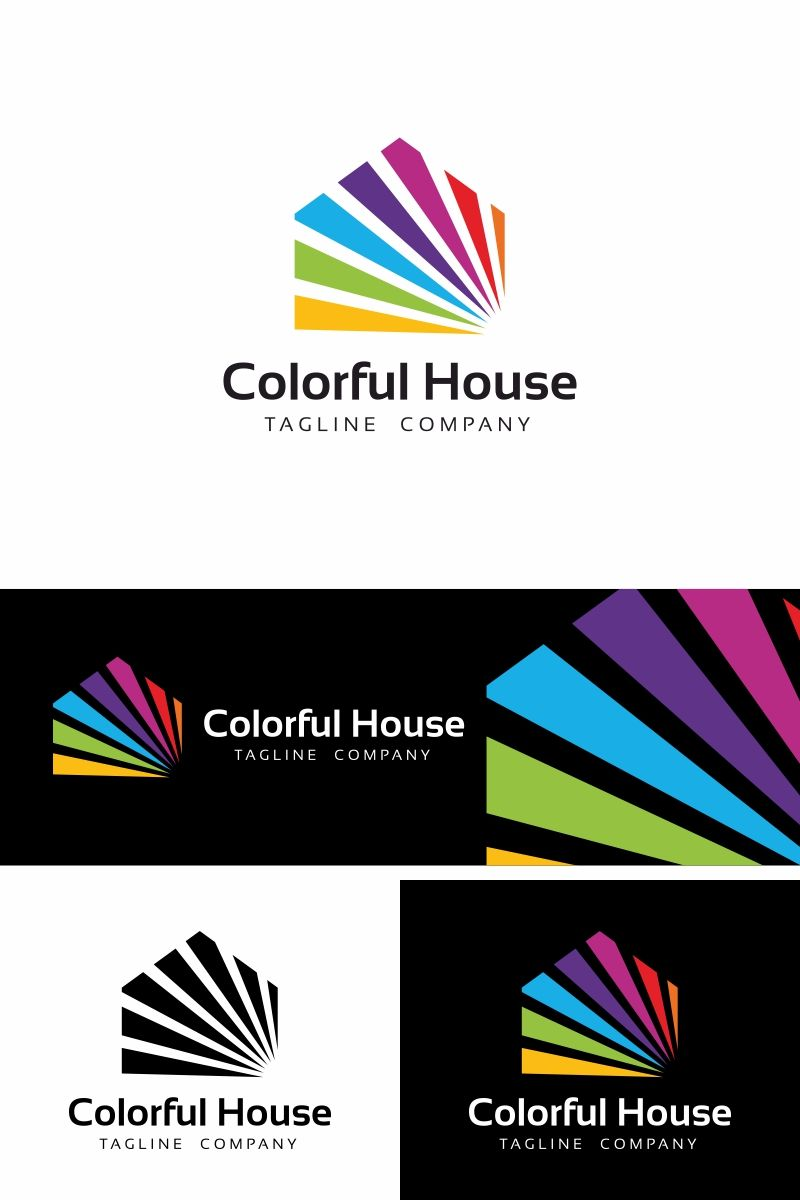 Colorful House Is A Clean And Professional Logo Template Suitable For Art Schools And Galleries Real Estate Agencie House Colors Home Logo Printing House Logo