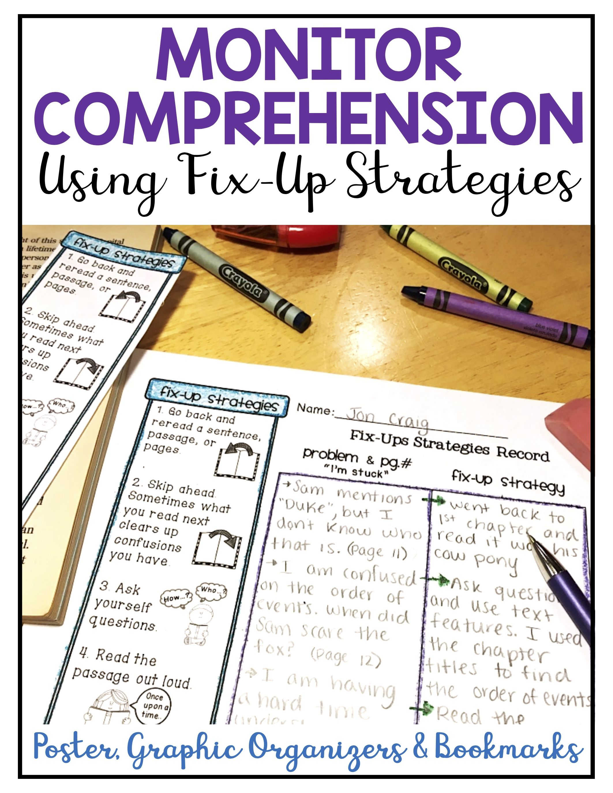 Monitoring Comprehension Fix Up Strategy Poster Bookmark