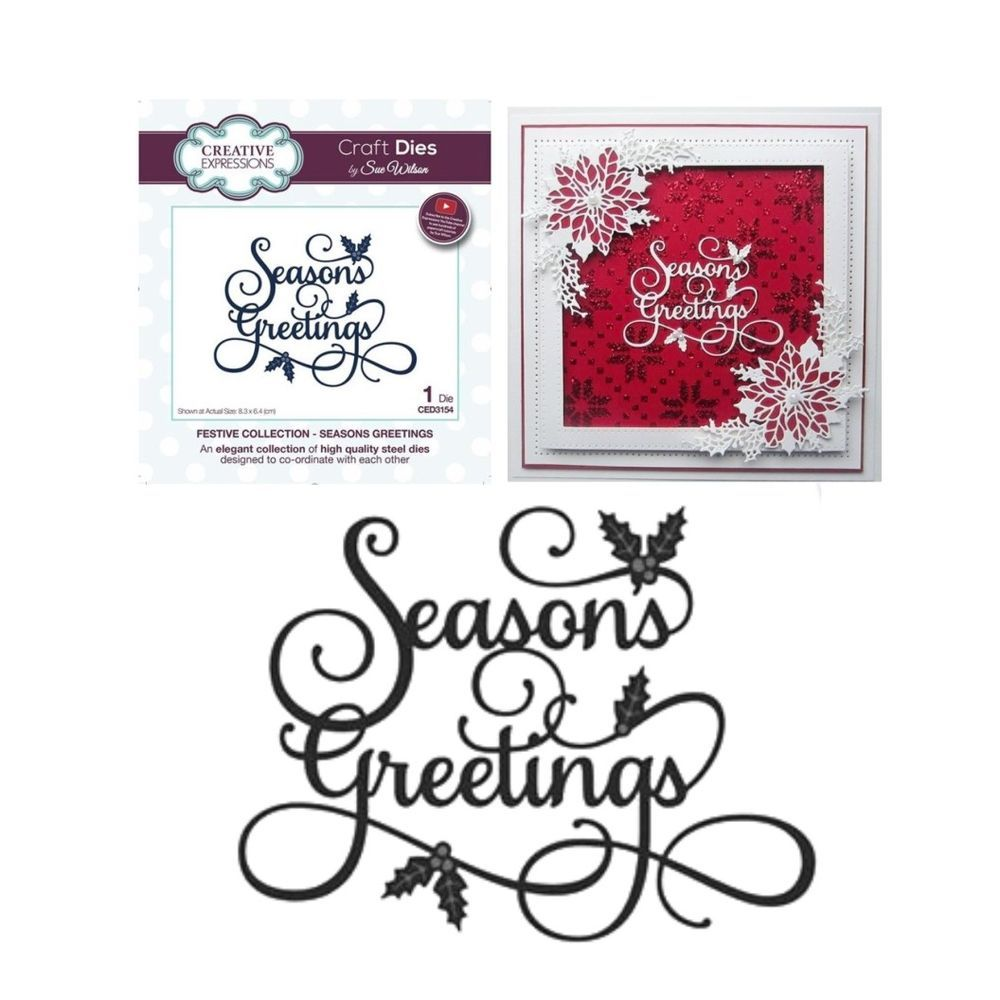 Seasons Greetings Midsize 34 Script Holidays Special Occasions Words