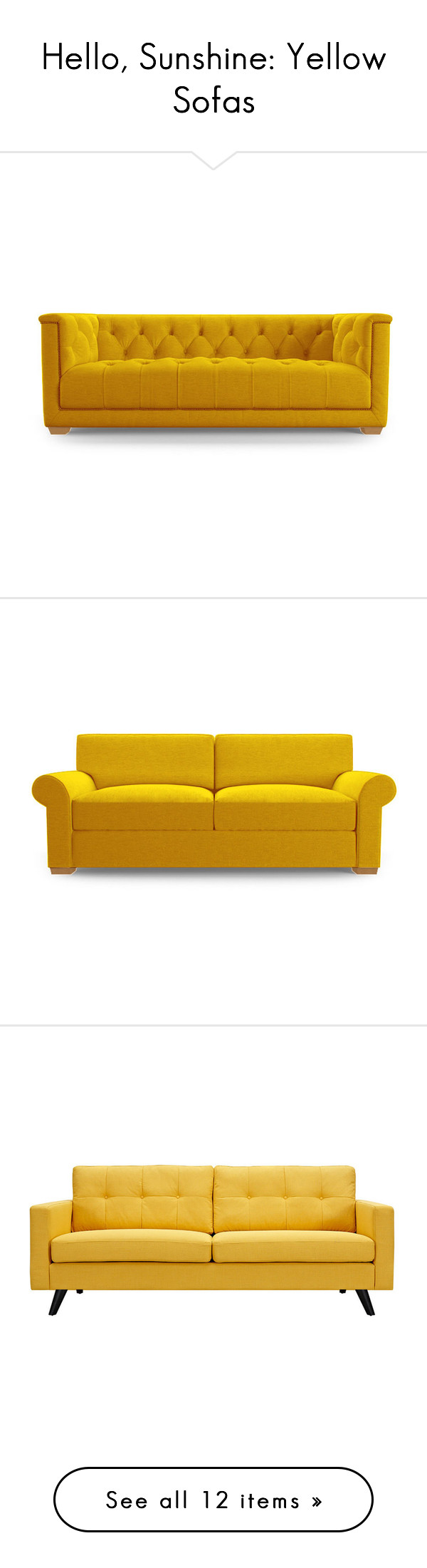 Sleeper Sofas  Hello Sunshine Yellow Sofas by polyvore editorial liked on Polyvore